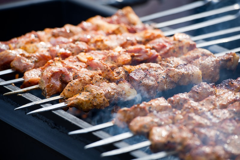 catering kabob on grill